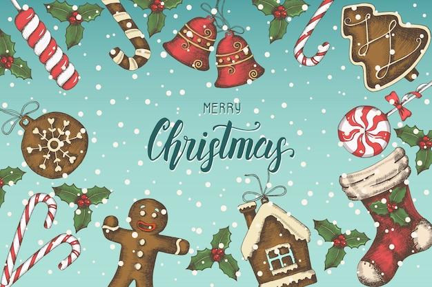 Sfondo di natale festivo con foglie di agrifoglio disegnati a mano, campane, pan di zenzero e calza di natale