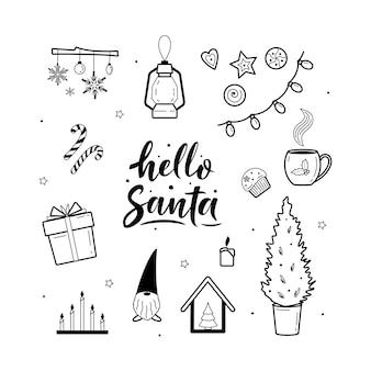 Collezione di elementi accoglienti di clipart natalizia e hygge festiva. ciao santa scritta.