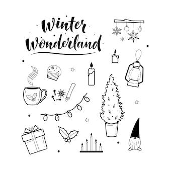 Collezione di elementi accoglienti di clipart natalizia e hygge festiva. iscrizione del paese delle meraviglie invernale.