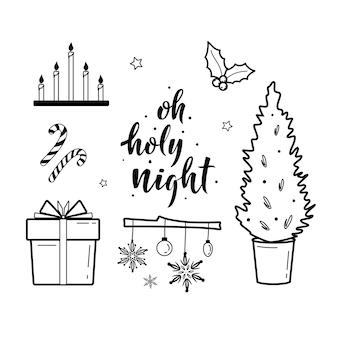 Collezione di elementi accoglienti di clipart natalizio festivo e hygge