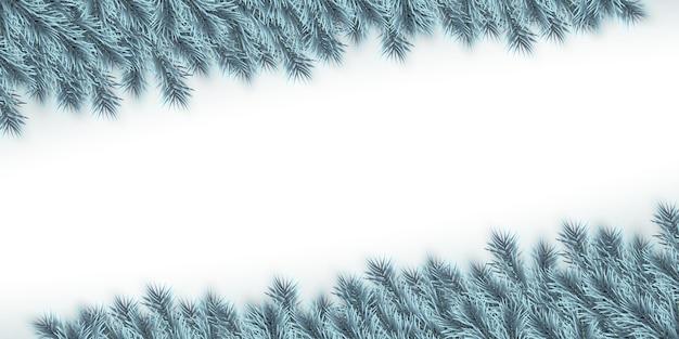 Sfondo festivo di natale o capodanno. rami di abete di natale blu. sfondo di vacanza.