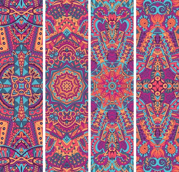 Set di banner etnico ornamentale colorato festivo. modelli ornamentali geometrici tribali.