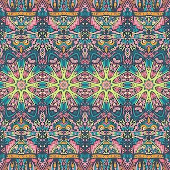 Arte psichedelica di doodle festivo colorato senza cuciture. ornamento grafico colorato etnico tibal