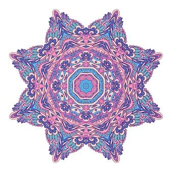 Medaglione etnico tribale colorato festivo intricato vettore
