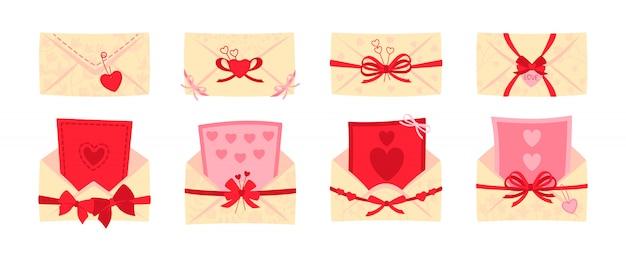 Busta festiva, set piatto da cartolina. san valentino o buste da matrimonio per lettere, fiocchi decorati. copertina postale aperta e chiusa. cartoon newsletter, consegna di invito. illustrazione isolata