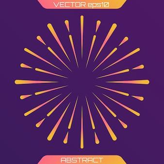 Fuochi d'artificio festivi o esplosione di coriandoli modello di movimento centrico geometrico circolare raggi luminosi di burst raggi che si irradiano da un oggetto centrale o da una fonte di luce composizione di forme sfumate vettore