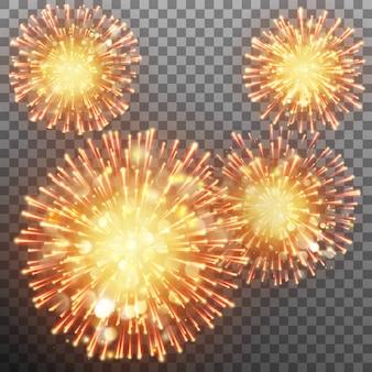 Effetto festivo di fuochi d'artificio scintillante su sfondo trasparente.