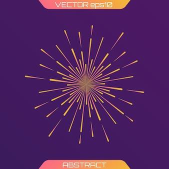 Fuochi d'artificio festivi, raggi di luce di burst, icona che irradia raggi