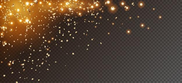 Sfondo glitter festivo con coriandoli d'oro che cadono e luci scintillanti