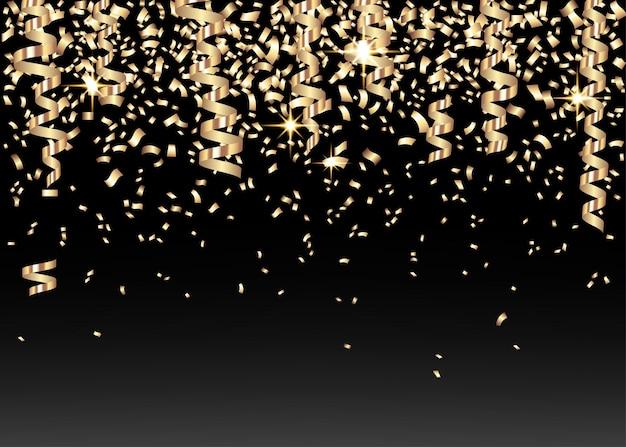 Coriandoli festosi d'oro su fondo nero
