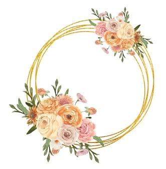 Cornice dorata festiva con fiori ad acquerello