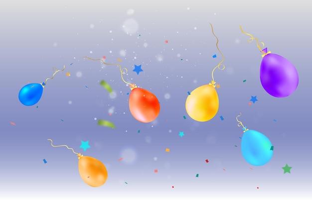 Un'illustrazione festiva con palloncini e caramelle che cadono