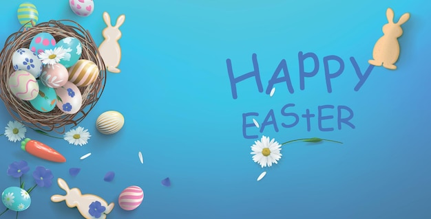 Illustrazione festiva con cesto e uova e biscotti a forma di lepre, buona pasqua.