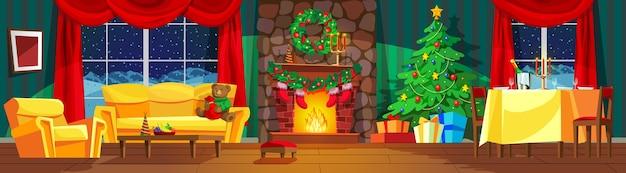 Interno festivo del soggiorno decorato per il nuovo anno