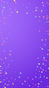 Coriandoli magnifici festivi. stelle di celebrazione. stelle colorate casuali su sfondo viola. recupero del modello di sovrapposizione festivo. sfondo vettoriale verticale.