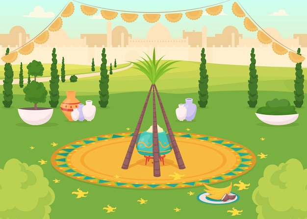 Pasto festivo in colore piatto parco pubblico. cena tradizionale indù. evento religioso. celebrazione del punjabi. paesaggio del fumetto 2d indiano con paesaggio urbano sullo sfondo Vettore Premium