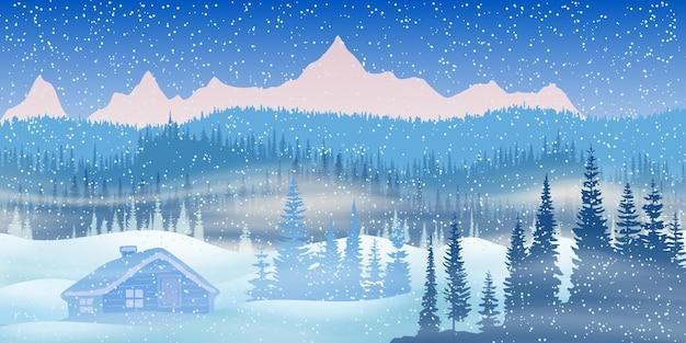Illustrazione festiva del nuovo anno, paesaggio montano invernale