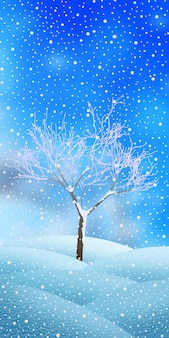 Disegno festivo di capodanno, paesaggio invernale con albero, banner verticale