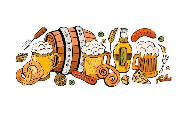 Festosa composizione dell'oktoberfest di birra, tazze, snack, pretzel e salsiccia.