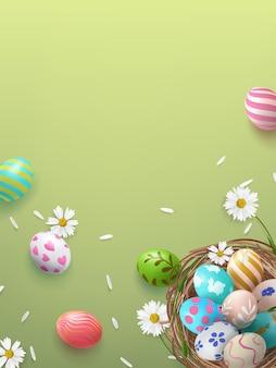 Manifesto festivo con cesto e uova di pasqua decorate con fiori e petali con un posto per un'iscrizione.