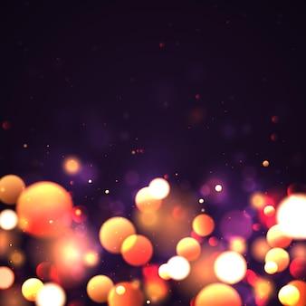 Festivo viola dorato luminoso sfondo bokeh di luce cartolina di natale natale scintillii d'oro brillante