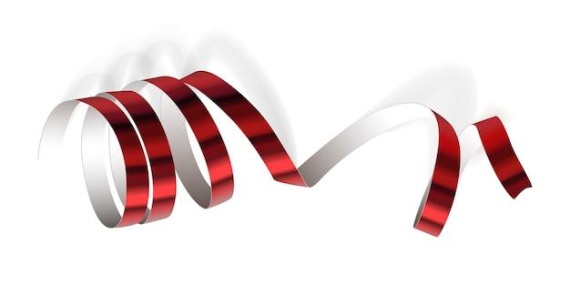 Nastro rosso festivo su sfondo bianco. stelle filanti realistiche. decorazione serpentina per festa di carnevale per il tuo banner e carta di grandi dimensioni.