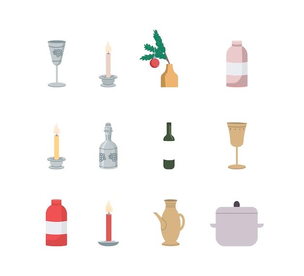 Insieme di oggetti di colore piatto decorazione della tavola festiva