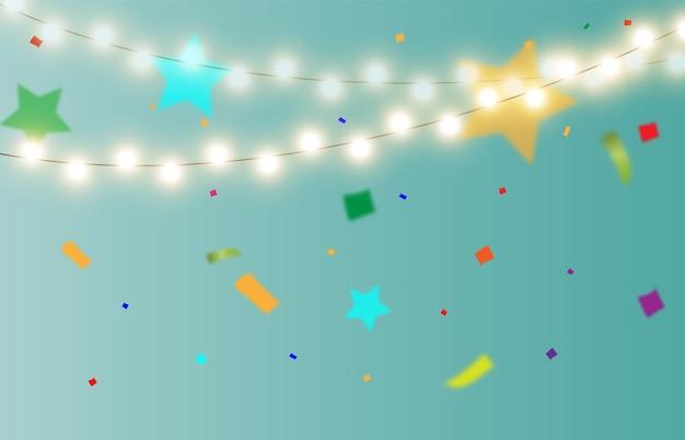 Illustrazione vettoriale festiva con caramelle e luci