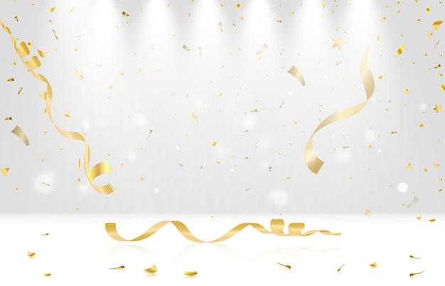 Illustrazione vettoriale festiva con coriandoli che cadono dorati con sfocatura isolata su sfondo trasparente
