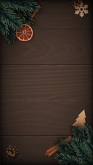 Modello verticale festivo con decorazioni invernali