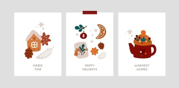 Biglietti di auguri natalizi festivi con i tradizionali simboli delle vacanze invernali