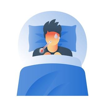 Concetto di febbre, termometro ad alta temperatura, malato sudato, raffreddore, virus dell'influenza, sintomi influenzali, sensazione di malessere, testa calda