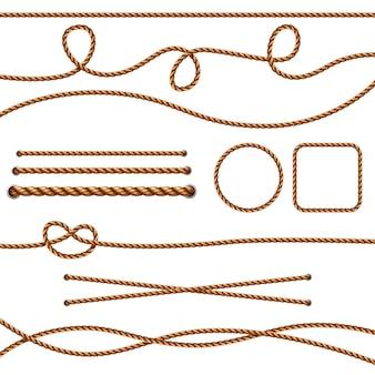 Corde in fibra. corde di fili marroni dritti realistici che attraversano immagini di nodi marini. cavo e nodo marrone dell'illustrazione, fibra della corda isolata
