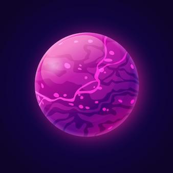 Pianeta immaginario con liquido al plasma