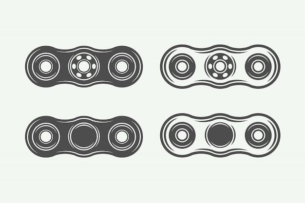 Set di logo di fidget spinner