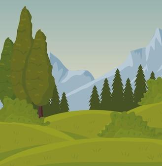 Scena del paesaggio del campo di campo con design forestale