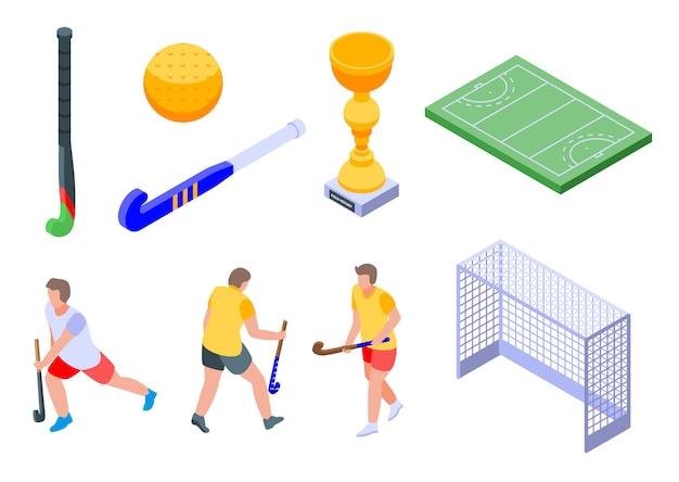 Set di icone di hockey su prato