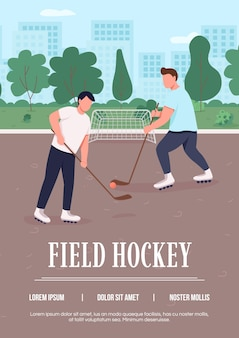 Modello piatto di poster di hockey su prato. speciale tipo di attività invernale durante l'estate.