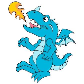 Il drago feroce sputa fuoco per bruciare, arte dell'illustrazione di vettore. scarabocchiare icona immagine kawaii.