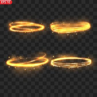 Cerchi di luce ardente effetto bagliore scintillante scintillio dorato cerchi ardenti scintillanti vortici magici ed energia luminosa