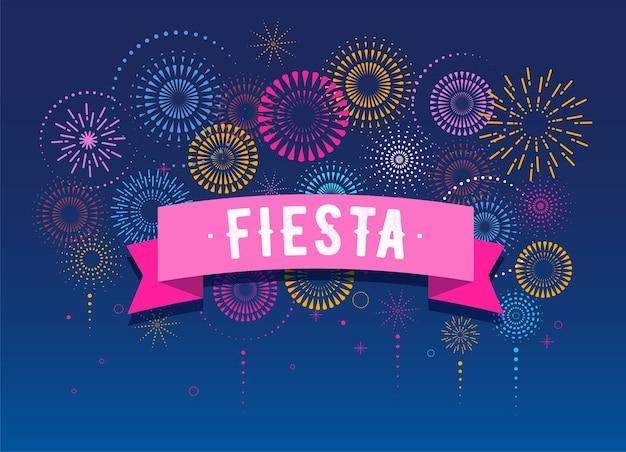 Fiesta, fuochi d'artificio e celebrazione sfondo, vincitore, poster della vittoria, banner