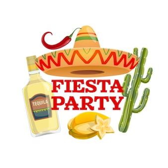Icona del partito di fiesta con cappello sombrero messicano tradizionale