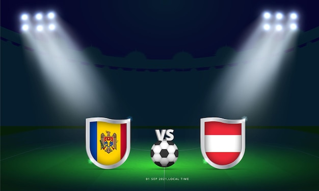 Coppa del mondo fifa 2022 moldavia vs austria qualificazionipartita di calcio trasmissione del tabellone segnapunti