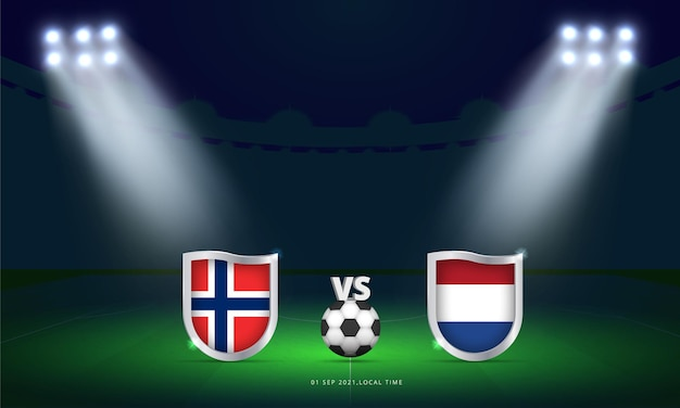 Coppa del mondo fifa 2022 norvegia vs olanda qualificazioni partita di calcio trasmissione del tabellone segnapunti