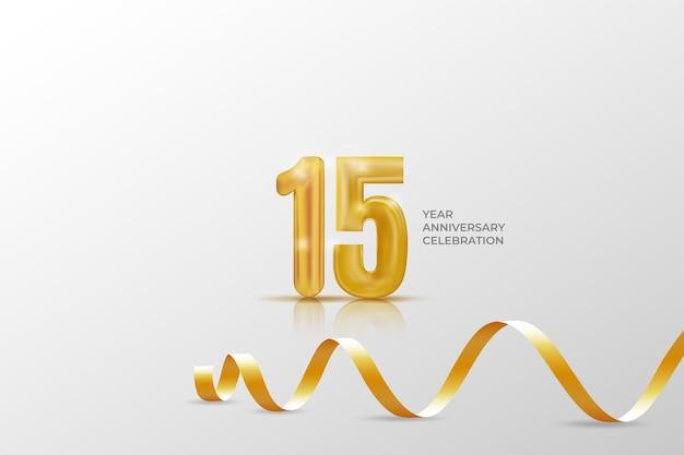 Modello di celebrazione di anniversario di quindici anni con numero dorato