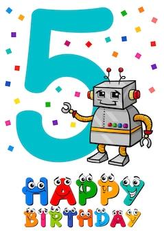 Carta cartone animato quinto compleanno