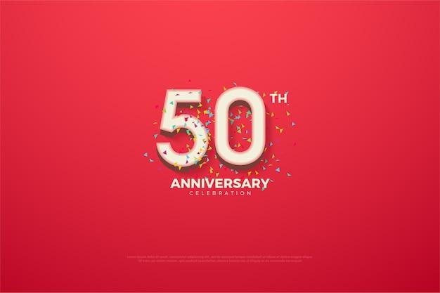 Sfondo del cinquantesimo anniversario con numeri ed effetto scarabocchio sul retro dei numeri
