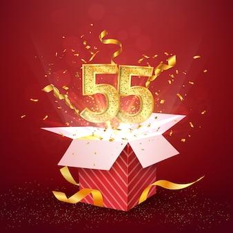 Cinquantacinque anni numero anniversario e confezione regalo aperta con elemento di design isolato coriandoli esplosioni