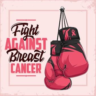 Lotta contro il cancro al seno lettering poster di sensibilizzazione con guantoni da boxe rosa disegnati a mano
