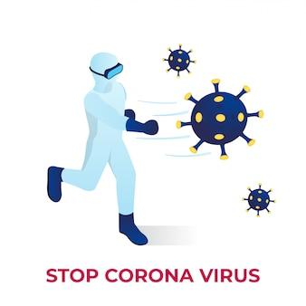 Combattere l'illustrazione isometrica del virus corona
